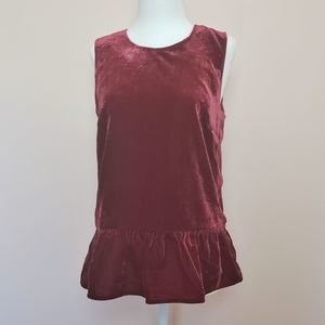 new with tags jcrew red velvet peplum top size 2